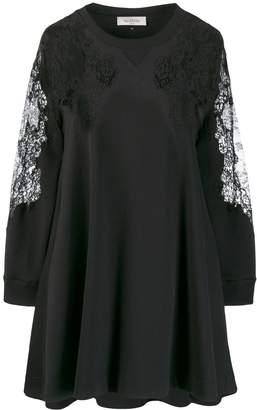 Valentino asymmetric lace embellished flared dress