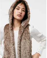 Express hooded faux fur vest