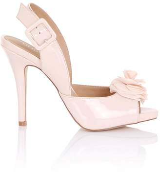 Little Mistress Footwear Eirenne Nude Flower Sling Back Heels