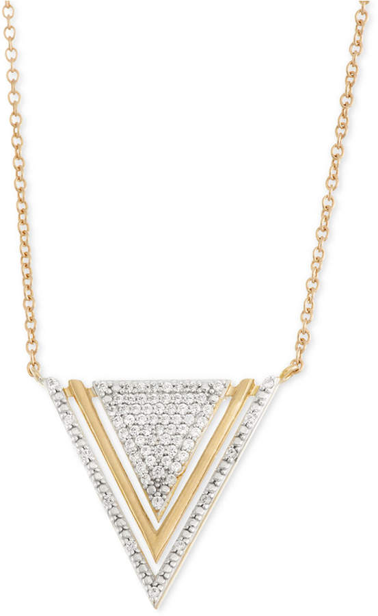 Wrapped Diamond Triangle Pendant Necklace (1/5 ct. t.w.) in 10k Gold, Created for Macy's