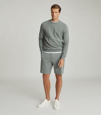 Reiss Belsay - Garment-dyed Jersey Shorts in Dark Sage
