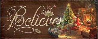 "Thomas Laboratories Wild Wings Kinkade Believe - Santa 12""x30"" Wood Sign"