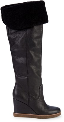 Dolce Vita Perly Faux Fur-Trim Over-The-Knee Leather Boots