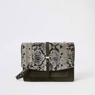 River Island Khaki leather snake print cross body bag