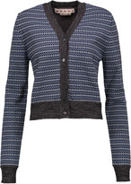 Marni Cropped jacquard-knit wool-blend cardigan