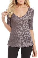 Betsey Johnson Leopard-Print Waffle Knit & Lace Sleep Top