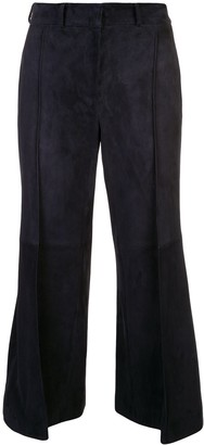 KHAITE Bruce suede cropped trousers