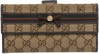 Gucci Brown/Beige GG Canvas and Canvas Mayfair Bow Continental Wallet