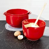 Crate & Barrel Rosti Luna Red Melamine Mixing Bowls with Lids Set