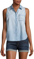 Arizona Sleeveless Plaid Button-Front Shirt-Juniors