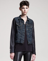 Rag and Bone Distressed Leather-Sleeve Jean Jacket
