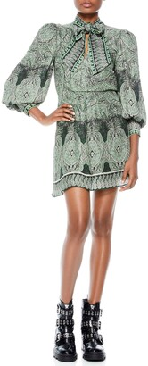 Alice + Olivia Tanisha Paisley Tie Neck Long Sleeve Dress