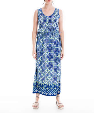 Max Studio Women's Maxi Dresses NVYEMODV - Navy & Yellow Geometric Sleeveless Empire-Waist Dress - Women