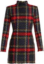 Balmain High-neck checked mini dress