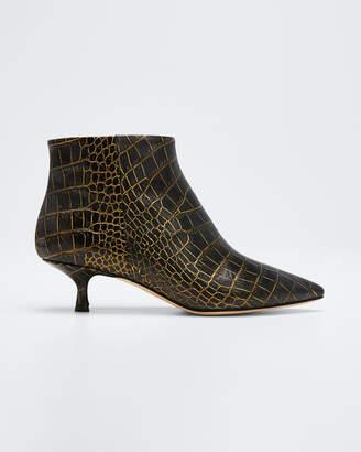 Paris Texas Moc Croc Kitten-Heel Booties