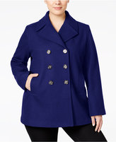 Kenneth Cole Plus Size Double-Breasted Peacoat, Only at Macy's