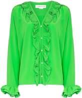 Victoria Beckham ruffled pearl-embellished silk blouse