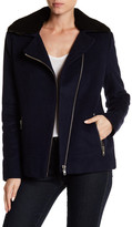 Doma Wool Blend Genuine Lamb Shearling Collar Jacket