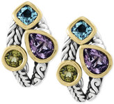 Effy Balissima by Multi-Gemstone Deco-Style Stud Earrings (5-1/10 ct. t.w.) in Sterling Silver and 18k Gold