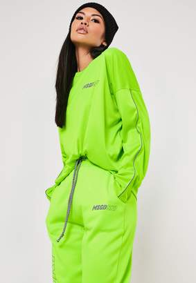 Missguided Msgd Ski Lime Co Ord Reflective Piping Detail Top