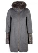 Herno Grey Fur-trimmed Cashmere Coat