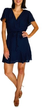 Trixxi Juniors' Dot Wrap Fit & Flare Dress
