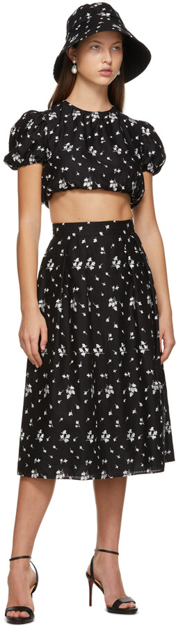 Thumbnail for your product : Erdem Black Embroidered Reed Skirt