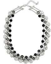 ABS by Allen Schwartz Necklace, Silver-Tone Glass Stone Three-Row Collar Necklace