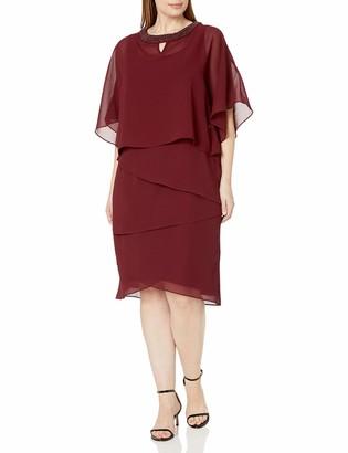 Le Bos Women's Plus Size Beaded Neck Poncho Dress W/Tiers
