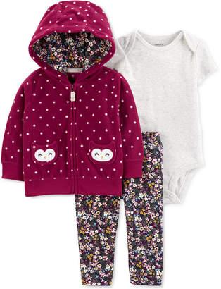 Carter's Carter Baby Girls 3-Pc. Fleece Dot-Print Hoodie, Bodysuit & Leggings Set