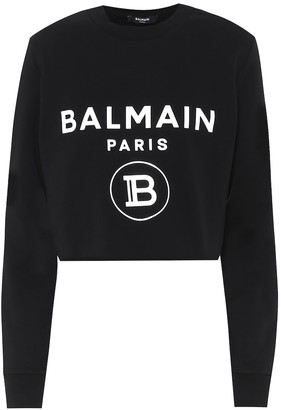 Balmain Cropped stretch-cotton sweatshirt