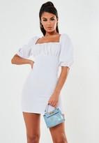Missguided White Scuba Crepe Ruched Milkmaid Mini Dress