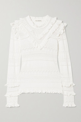 Ulla Johnson Austen Crochet-knit Cotton-blend Sweater - White