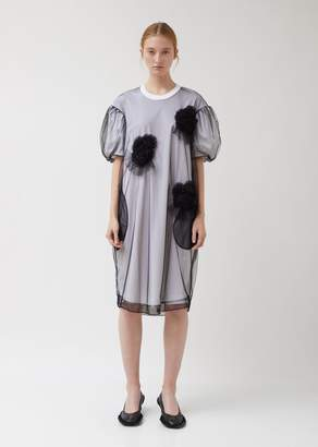 Simone Rocha Ruched Flowers Puff Sleeves Tee Dress