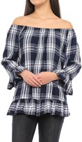 For the Republic Off-the-Shoulder Plaid Shirt - Long Sleeve (For Women)