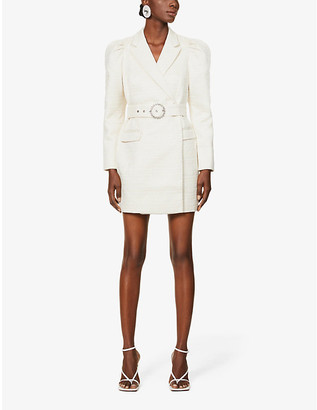 Lavish Alice Puffed-sleeve stretch-crepe blazer mini dress