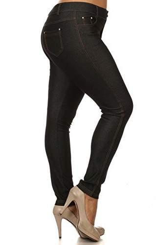 Yelete Women's Plus Size Cotton Blend Stretchy Jeggings With 5 Pockets (, XXXL)
