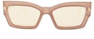 Christian Dior Catstyledior2 Mirrored Rectangular Sunglasses - Womens - Light Brown