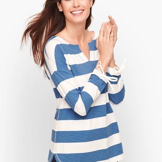 Talbots Curved Hem Stripe Pullover