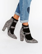 Asos ELYSIA Glitter Pointed Ankle Boots
