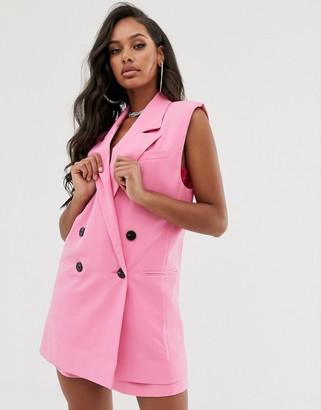 Asos DESIGN sleeveless dad suit blazer in pop pink