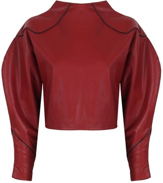 Mirimalist Angle Open Back Top In Red Leather