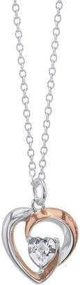 Brilliance+ Brilliance Two-Tone Woven Heart Pendant Necklace with Swarovski Crystal