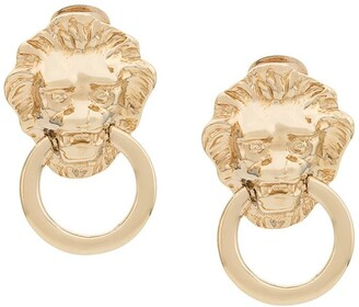 Kenneth Jay Lane Vintage 1990s Kenneth Jay Lane lion door knocker earrings