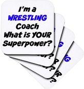 3dRose Im a Wrestling Coach, Whats Your Super Power - Ceramic Tile Coasters, Set of 4 (cst_216411_3)