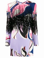 Emilio Pucci Heliconia Print Sequin Fringe Mini Dress