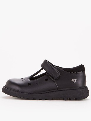 Very ToeZone at Younger Girls Chunky Heart Leather School Shoe - Black