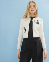 Ted Baker Contrast Rose embroidered cardigan