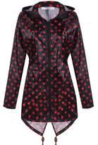 Meaneor Women's Long Sleeve Fishtail Dot Print Cute Raincoat Waterproof Jacket Black and Rose Red XXL