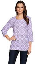Denim & Co. Printed Eyelet 3/4 Sleeve Knit Top